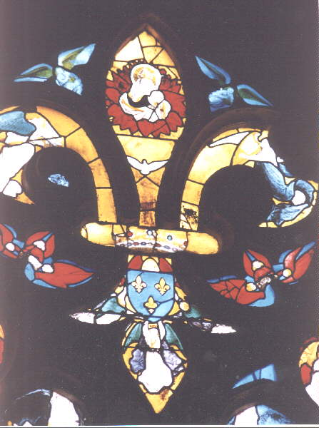 Stained Gl Window In The Shape Of A Fleur De Lys Bourges Cathedral 15th C Note Various Themes Trinity Which 3 Petals Were Understood To